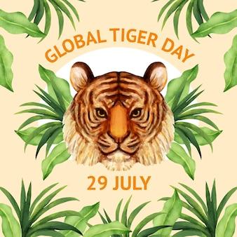 Illustrazione di giorno della tigre globale dell'acquerello dipinto a mano
