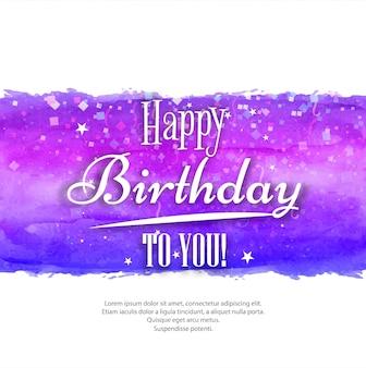 Cartolina d'auguri dell'acquerello dipinto a mano - buon compleanno