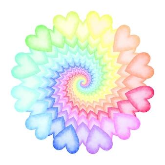 Cuori ad acquerello dipinti a mano. spirale arcobaleno di cuori colorati. elemento di design per un invito a nozze e baby shower, compleanno, san valentino e biglietto per la festa della mamma. illustrazione vettoriale.