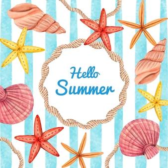 Illustrazione di ciao estate dell'acquerello dipinto a mano Vettore Premium