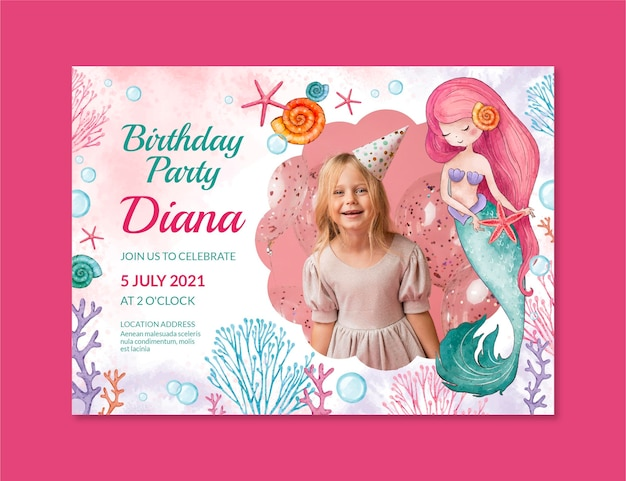Modello dell'invito di compleanno della sirena dell'acquerello dipinto a mano con foto