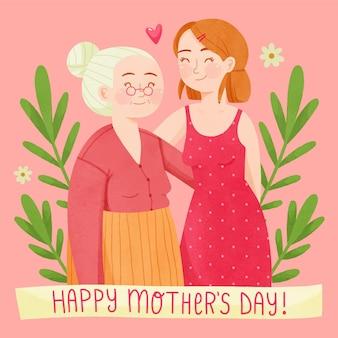 Illustrazione di festa della mamma dell'acquerello dipinto a mano