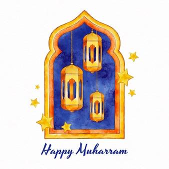 Illustrazione dipinta a mano di muharram dell'acquerello