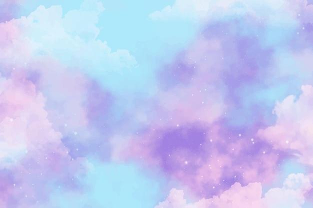 Fondo del cielo pastello dell'acquerello dipinto a mano