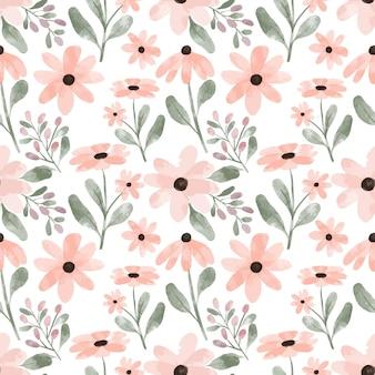 Fondo del modello di ripetizione del fiore del petalo dell'acquerello dipinto a mano