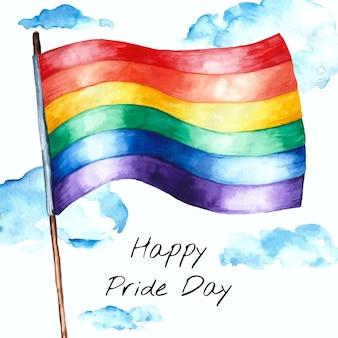 Illustrazione della bandiera del giorno dell'orgoglio dell'acquerello dipinto a mano