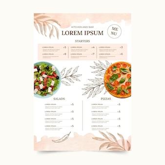 Modello di menu ristorante rustico dell'acquerello dipinto a mano con foto