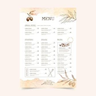 Modello di menu ristorante rustico dell'acquerello dipinto a mano