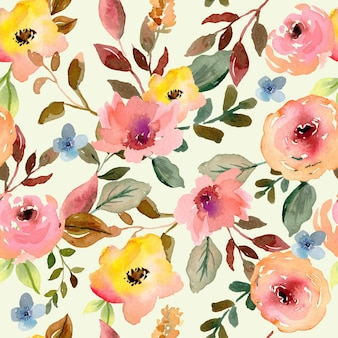 Motivo floreale senza cuciture ad acquerello dipinto a mano