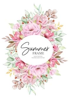 Illustrazione di cornice floreale estate acquerello dipinto a mano
