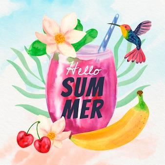 Illustrazione di estate dell'acquerello dipinto a mano Vettore Premium
