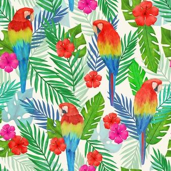 Modello tropicale estivo dell'acquerello dipinto a mano