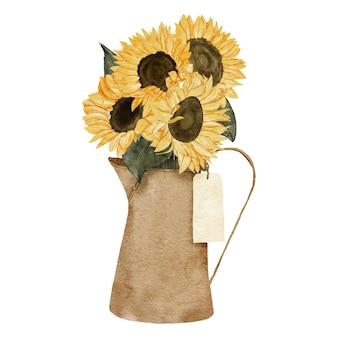 Disposizione del girasole dell'acquerello dipinto a mano con vaso per regalo