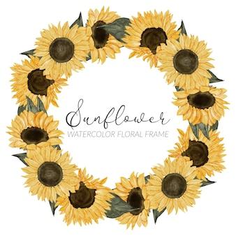Bordo floreale del cerchio del girasole dell'acquerello dipinto a mano Vettore Premium