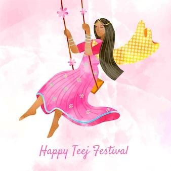 Illustrazione del festival teej dell'acquerello dipinto a mano