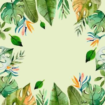 Fondo tropicale delle foglie dell'acquerello dipinto a mano Vettore Premium