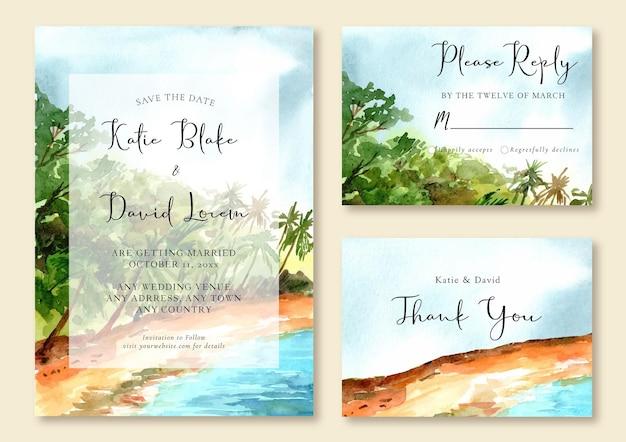 Invito a nozze acquerello dipinto a mano di spiaggia e mare