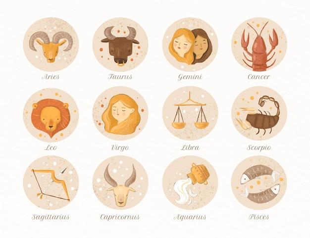 Collezione di segni zodiacali ad acquerello dipinto a mano