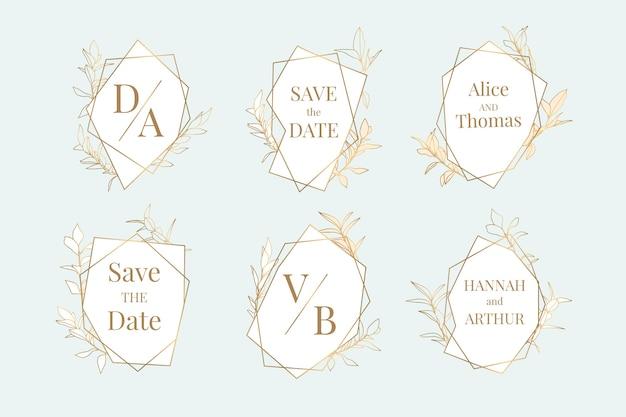 Collezione di monogrammi di matrimonio piatto lineare di matrimonio dipinto a mano