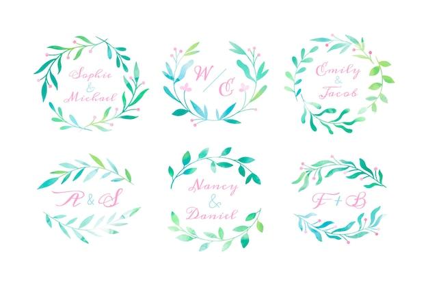 Collezione di monogrammi di nozze dipinti a mano