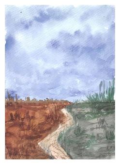 Paesaggio dell'acquerello del sentiero per pedoni dipinto a mano Vettore Premium