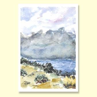Sfondo acquerello paesaggio dipinto a mano