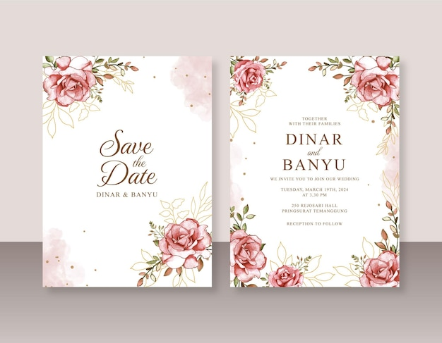 Acquerello rosa dipinto a mano per un bellissimo invito a nozze