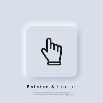 Puntatore a mano, facendo clic sull'icona. facendo clic sull'icona del dito, puntatore a mano. vettore eps 10. pulsante web dell'interfaccia utente bianco neumorphic ui ux. neumorfismo