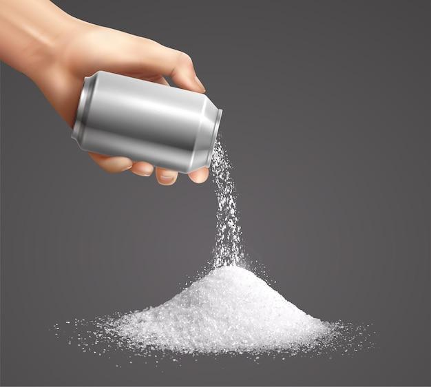 Mano che versa acqua sullo zucchero