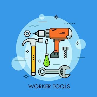 Utensili manuali e elettrici e macchine: cacciavite, chiave inglese, trapano elettrico, martello, bullone e dado. concetto di lavoro manuale e automatizzato.