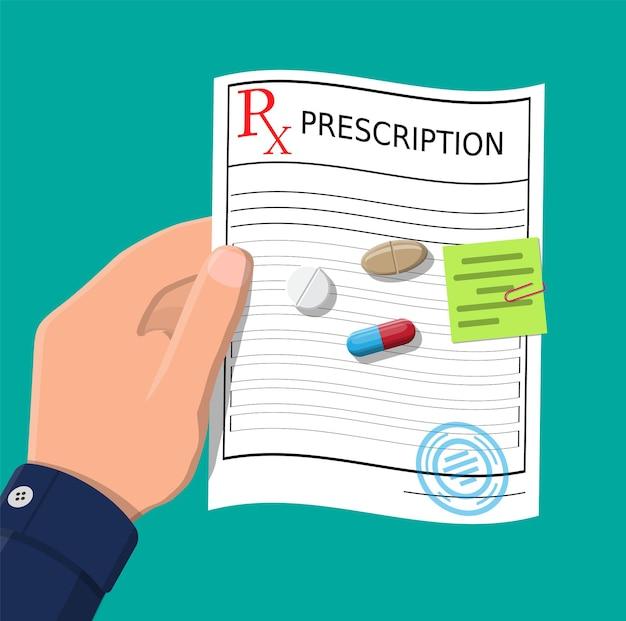 Mano, prescrizione rx, pillole, capsule per la malattia