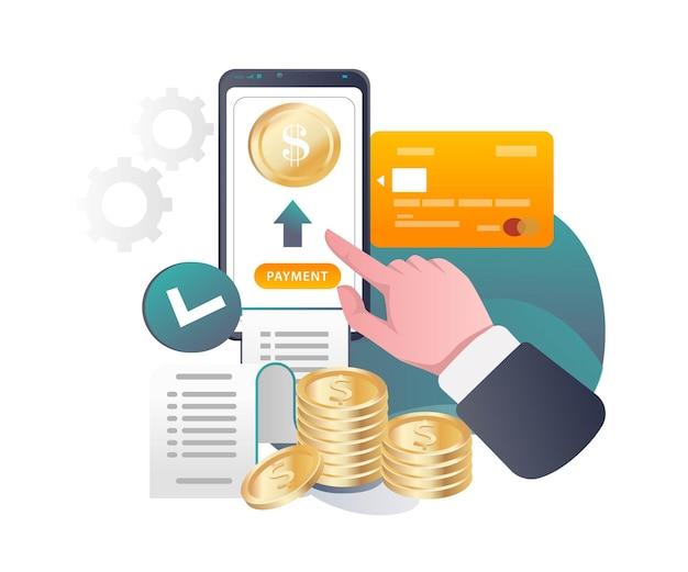 Pulsante di pagamento online premendo a mano nell'illustrazione isometrica
