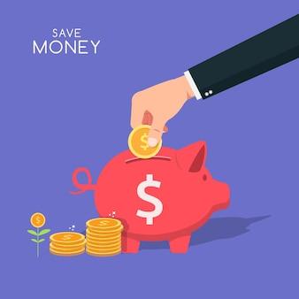 La mano ha messo la moneta nell'illustrazione della banca piggy. risparmio di denaro simbolo