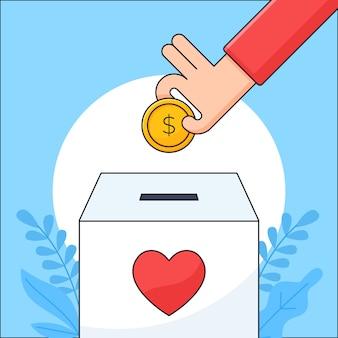 La mano ha messo la moneta dei soldi in un'illustrazione della scatola di carità per la progettazione di concetto di cura umana di donazione