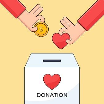 La mano ha messo il simbolo del cuore e della moneta dei soldi in un'illustrazione della scatola di carità per la progettazione di concetto di cura umana di donazione
