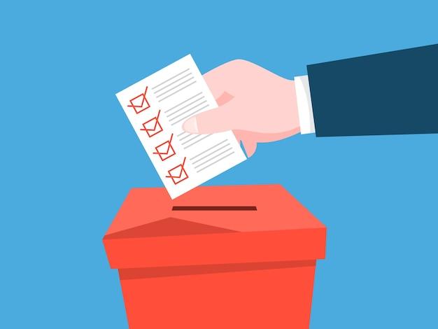 Metti la carta a mano con un segno in un'urna. elezioni politiche