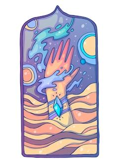 Mano nelle dune di sabbia. illustrazione del fumetto creativo.