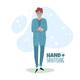 Illustrazione di sanificazione delle mani. l'infermiera usa l'igienizzazione delle mani.