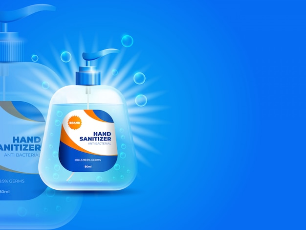 Concetto del fondo della bottiglia del prodotto disinfettante della mano