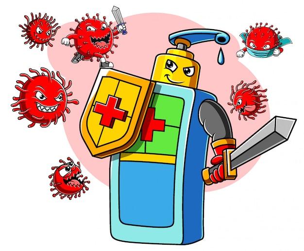 Personaggio disinfettante per le mani con spada e scudo lotta contro il coronavirus covid 19