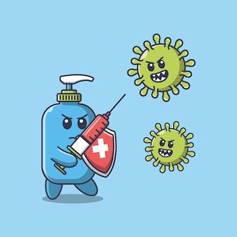Il disinfettante per le mani combatte il virus corona usando un'illustrazione del fumetto dell'iniezione
