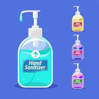 Illustrazione piana del prodotto disinfettante della mano con la bottiglia della pompa