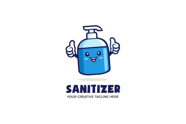 Modello di logo della mascotte del fumetto di sanità del disinfettante per le mani