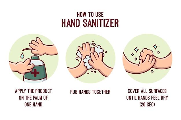 Disinfettante per le mani in stile infografico