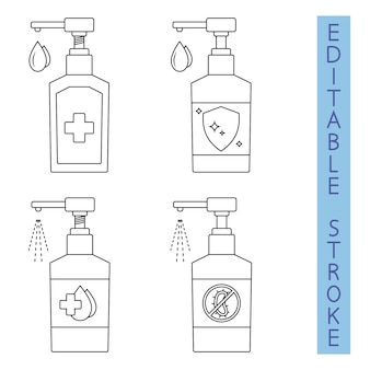 Disinfettante per le mani. liquido antibatterico a spruzzo. dispenser disinfettante per le mani. sapone liquido igienizzante. sagoma di bottiglia in contorno. applicazione di un antisettico idratante. gel antisettico. modificabile. vettore