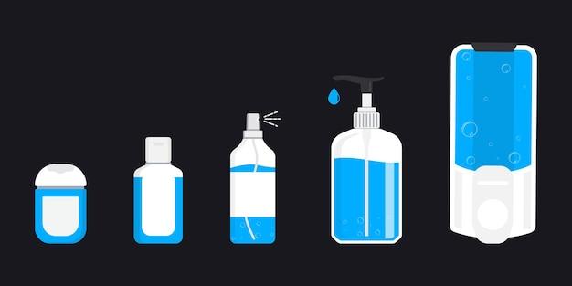 Igienizzanti per le mani. igienizzante mani in gel alcolico. gel detergente per uccidere la maggior parte dei batteri, funghi e fermare alcuni virus come il coronavirus. concetto di prevenzione della diffusione del covid-19