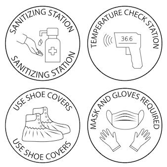 Stazione di igienizzazione delle mani e controllo della temperatura. copriscarpe. necessari mascherina, guanti e termometro. coperture mediche protettive. dispositivi medici di protezione individuale. vettore isolato