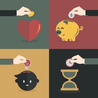 Mano risparmiando denaro, tempo, cuore e idea
