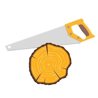 Sega a mano e ceppo d'albero