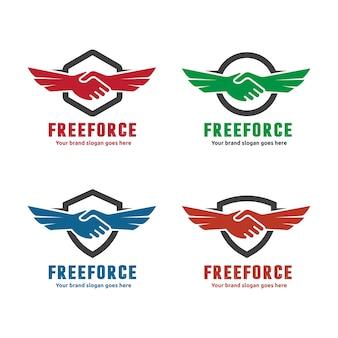 Logo della mano shake e dell'ala